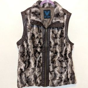 GO COCO Faux fur plus size long vest, 1X